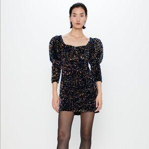 Zara velvet blue sequin bell sleeve dress size M